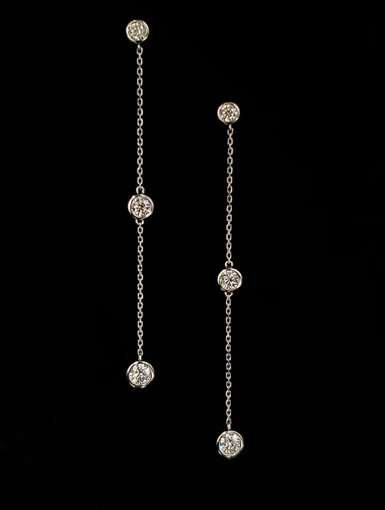 3 Stone Moissanite Drop Earrings in 14kt White Gold