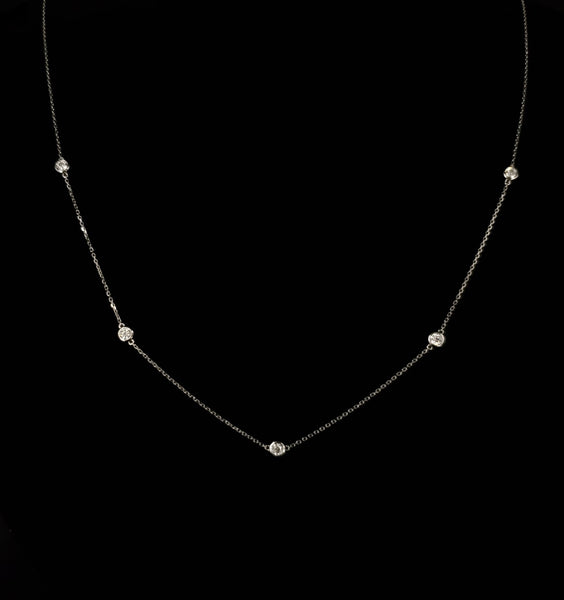 Bezel Set Moissanite Necklace in 14kt White Gold