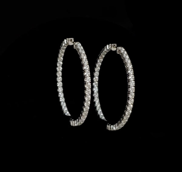 14kt White Gold Moissanite Hoop Earrings