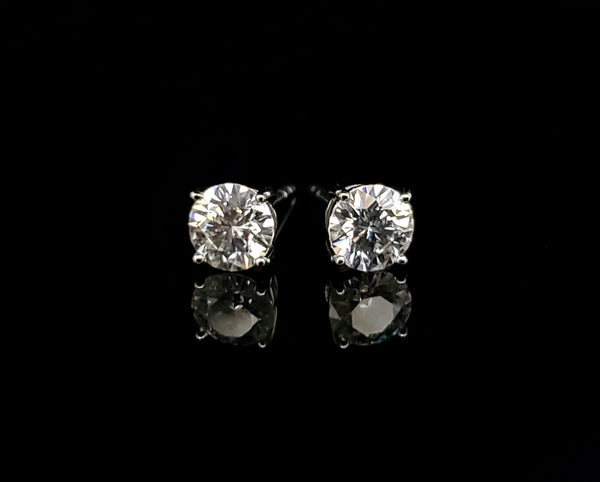 14kt White Gold Moissanite Stud Earrings 1.00ct