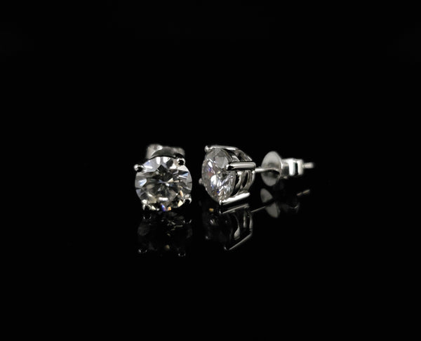 14kt White Gold Moissanite Stud Earrings 2.00ct