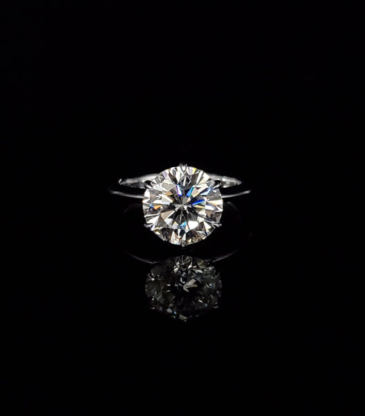14kt White Gold 10 mm Moissanite Solitaire Ring 3.87cts