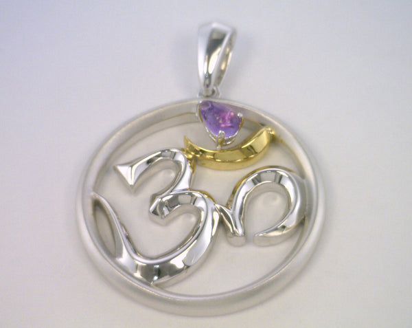 Silver OM with Gold Plating and Amethyst Stone