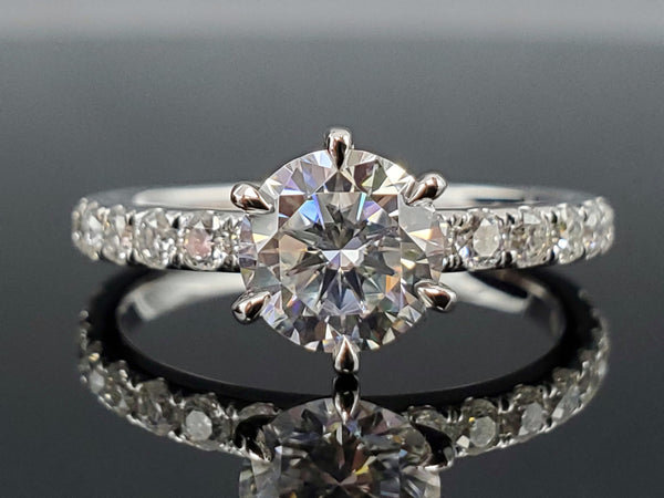 6.5mm Moissanite Engagement Rings in 14kt White Gold
