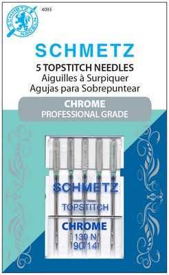 Chrome Topstitch Needles, Size 90/14