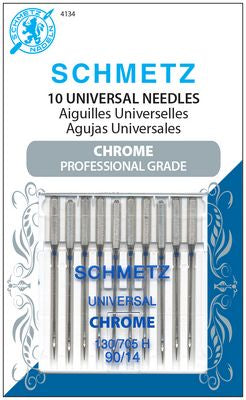 NEW! Chrome Universal Needles, Size 90/14, 10 pc.