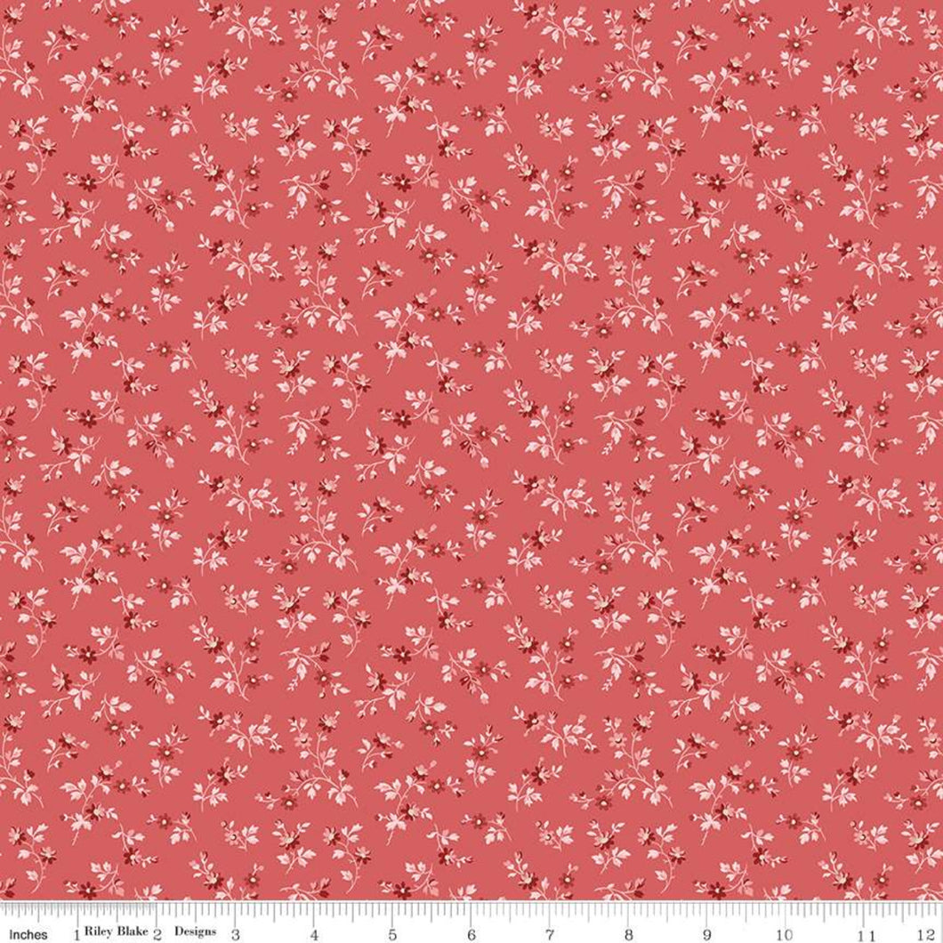 Red Elegance Stems Berry Fabric by the Yard