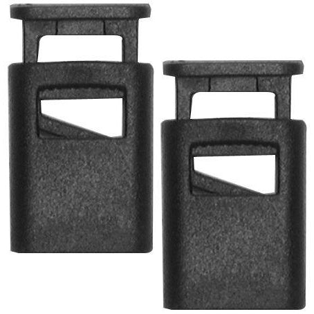 Black Rectangle Barrel Cord Lock, Set of 2