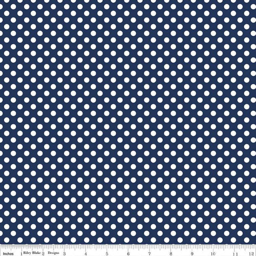 NEW! Navy & White Dot Stretch Jersey Knit Fabric by the Yard