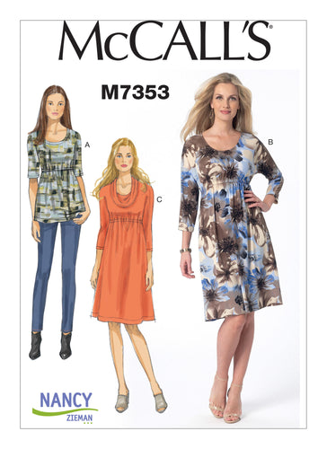 Misses' Raised Elastic-Waist Top and Dresses Pattern M7353
