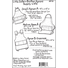 Load image into Gallery viewer, Little Sister & Brother Aprons Pattern