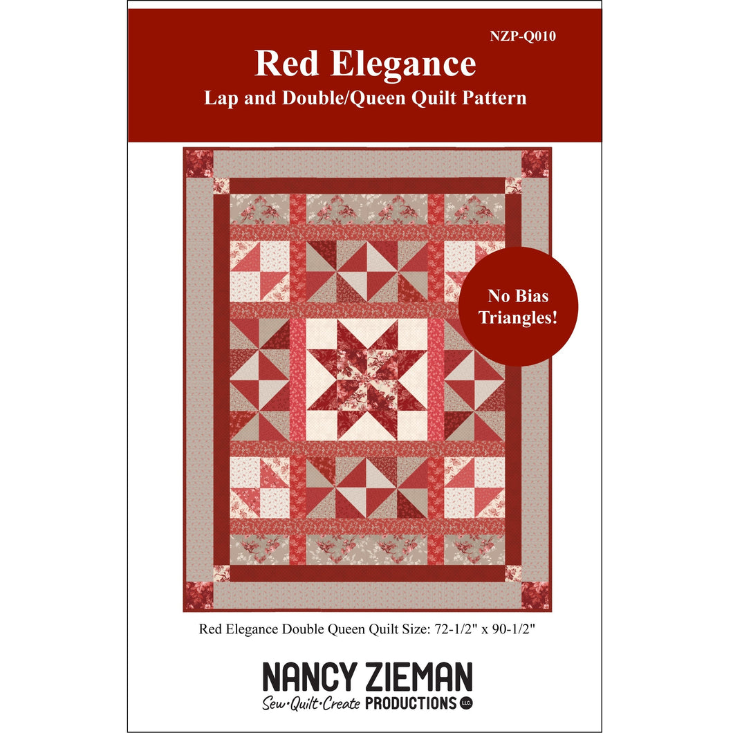 NEW! Red Elegance Lap and Double/Queen Quilt Pattern