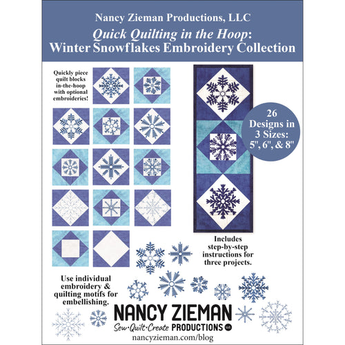 NEW! Exclusive Quick Quilting in the Hoop: Winter Snowflakes Embroidery Collection