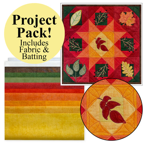 NEW! Exclusive Quick Quilting in the Hoop: Fall Leaves Wall Hanging Project Pack