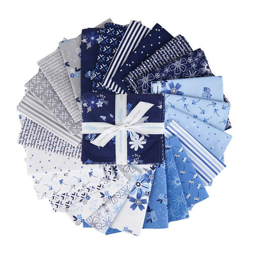 NEW! Blue Stitch Fabric Fat Quarter Bundle