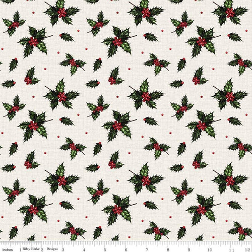 NEW! Christmas Memories Holly Cream Fabric by the Yard