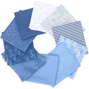 NEW! Blue and White 1/2-Yard Cut Fabric Bundle