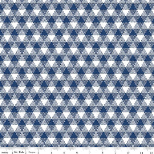 NEW! Land of Liberty Triangle Gingham Navy Fabric by the Yard