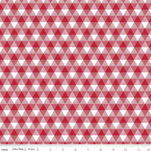 NEW! Land of Liberty Triangle Gingham Red Fabric by the Yard