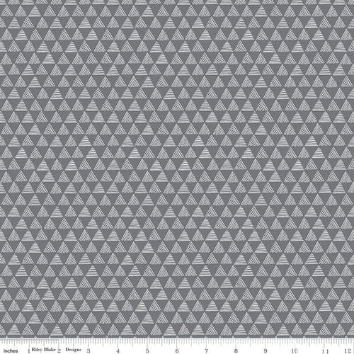 NEW! Purrfect Day Triangles Dark Gray Fabric by the Yard
