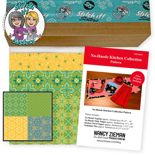NEW! Exclusive Green & Yellow Wildflower Boutique No-Hassle Napkin and Table Topper Bundle Box