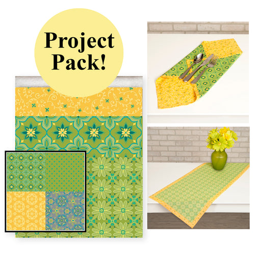 NEW! Exclusive Green & Yellow Wildflower Boutique No-Hassle Napkin and Table Topper Project Pack