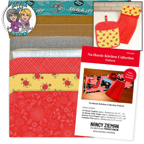 NEW! Exclusive Red  & Yellow Wildflower Boutique No-Hassle Potholder Plus and Towel Topper Bundle Box