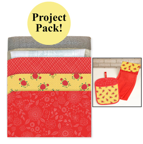 NEW! Exclusive Red & Yellow Wildflower Boutique No-Hassle Potholder Plus and Towel Topper Project Pack