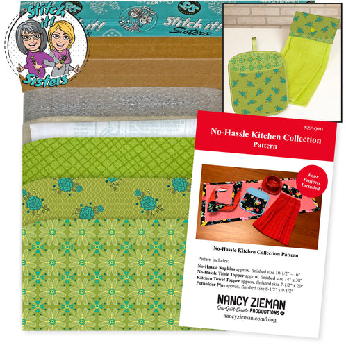 NEW! Exclusive Green Wildflower Boutique No-Hassle Potholder Plus and Towel Topper Bundle Box