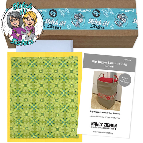 NEW! Exclusive Green Mosaic Wildflower Boutique Big-Bigger Laundry Bag Bundle Box