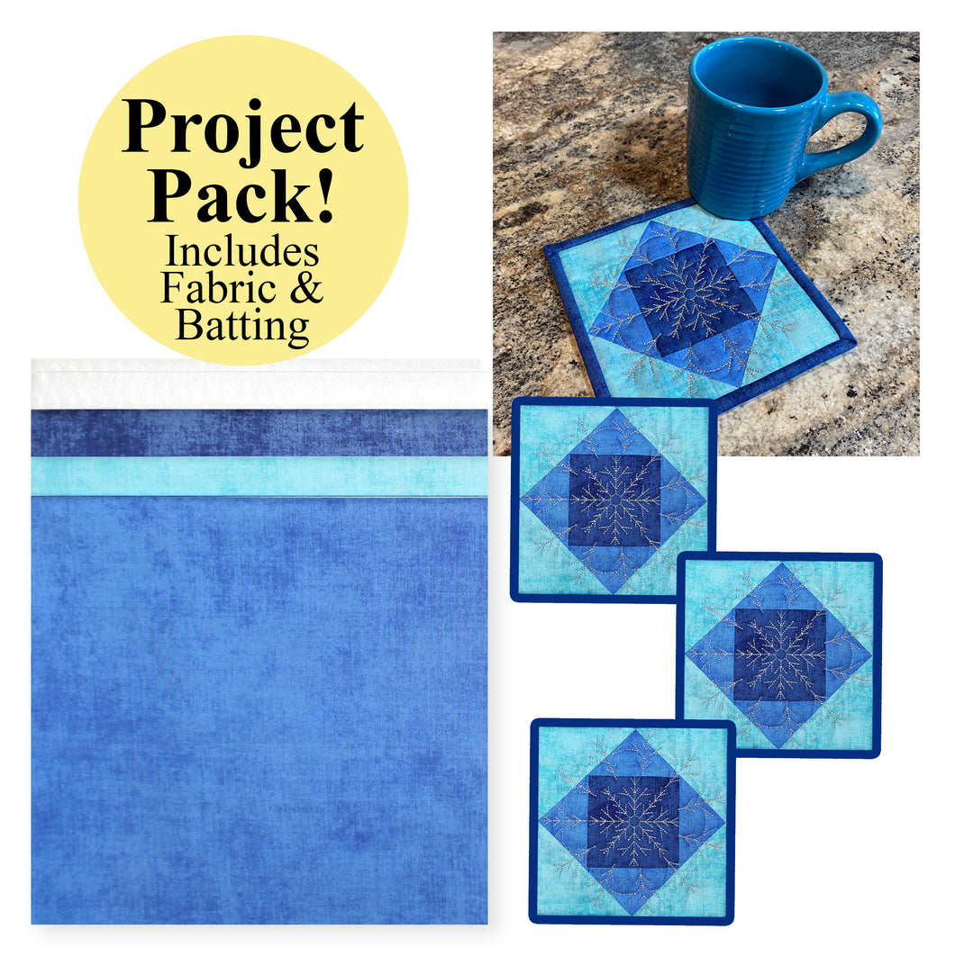 NEW! Exclusive Quick Quilting in the Hoop: Winter Snowflakes Coasters Project Pack