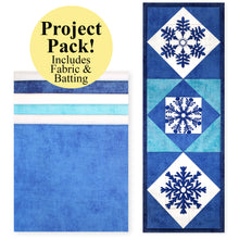 Load image into Gallery viewer, NEW! Exclusive Quick Quilting in the Hoop: Winter Snowflakes Mini Wall Quilt Project Pack