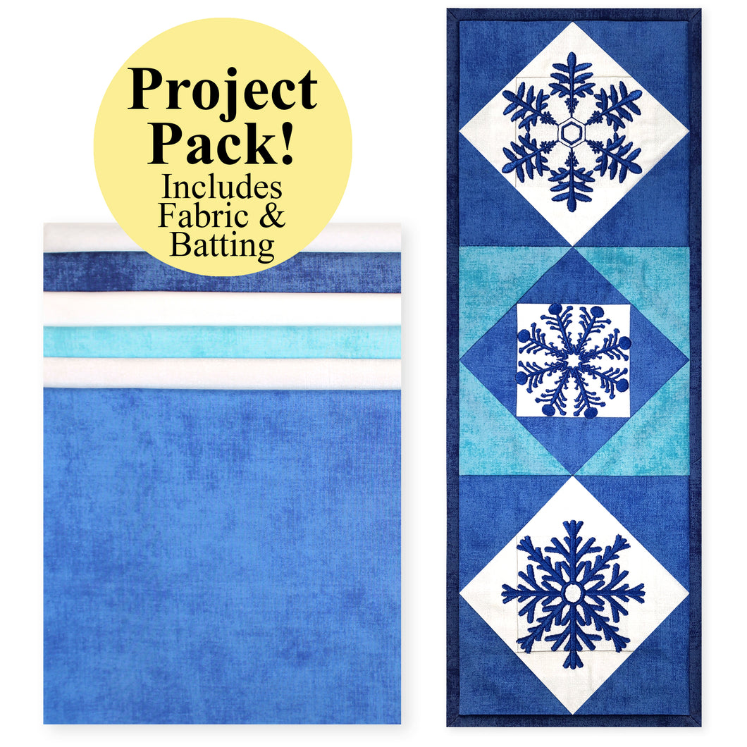 NEW! Exclusive Quick Quilting in the Hoop: Winter Snowflakes Mini Wall Quilt Project Pack