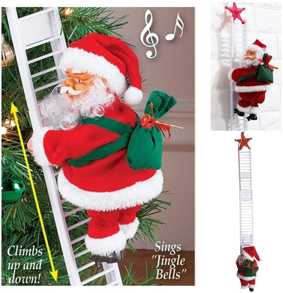 Santa Climbing Ladder Decorative Figurine