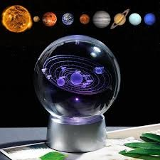 3D LED  Laser Engraved Solar System Sphere