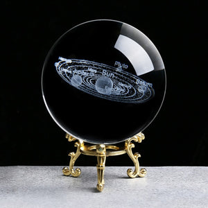 3D Laser Engraved PLANETS Crystal Ball