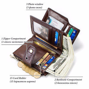 Smart Wallet rfid Genuine Leather with alarm GPS Map, Bluetooth
