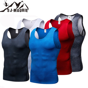 SJ-Maurie Sleeveless Quick-drying Men Sports T-shirt Gym Clothing Compression Tights Gym Vest Top for Summer Men's Running Vest