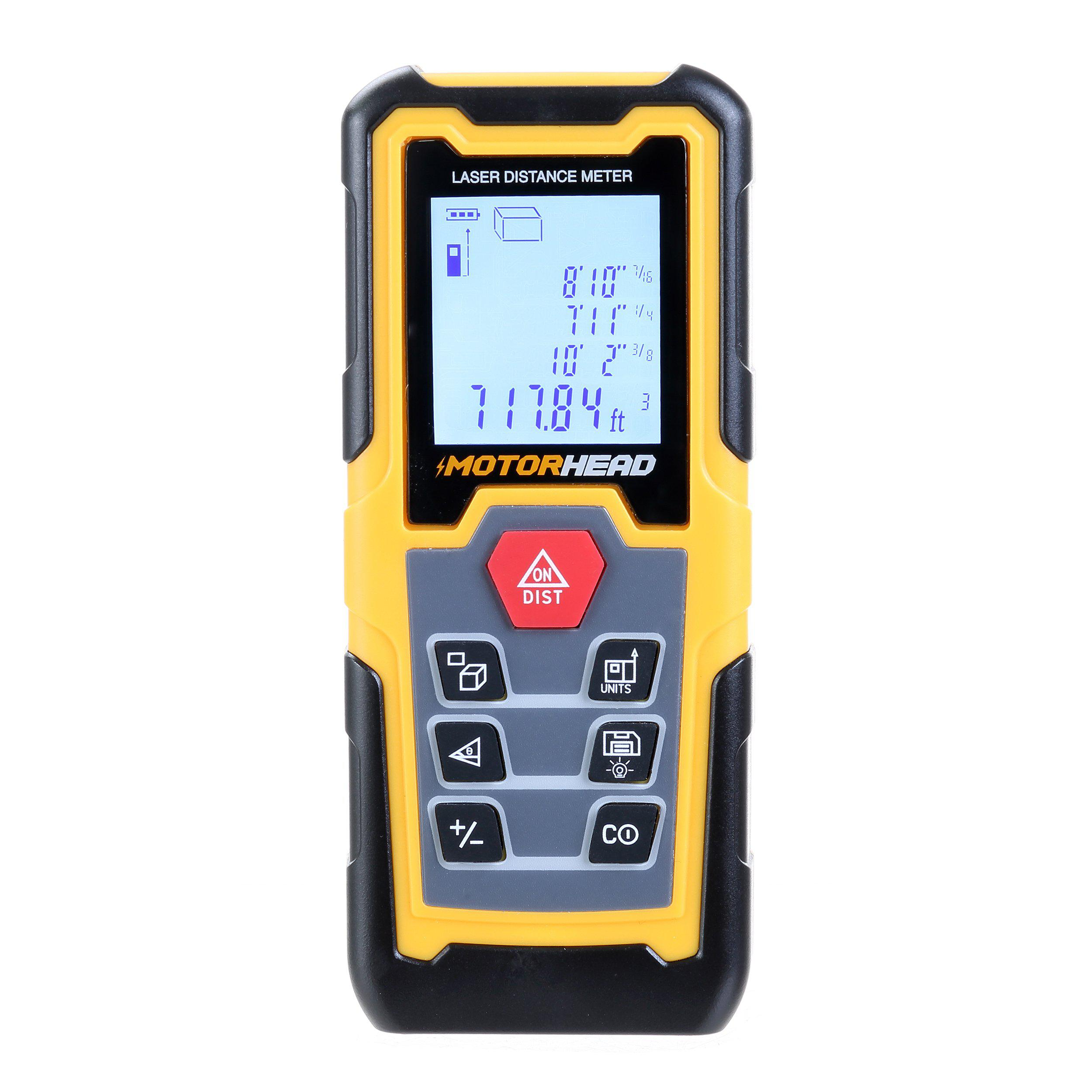 196 ft. Laser Distance Measure with Bubble Levels-Motorhead & Steelhead Tools