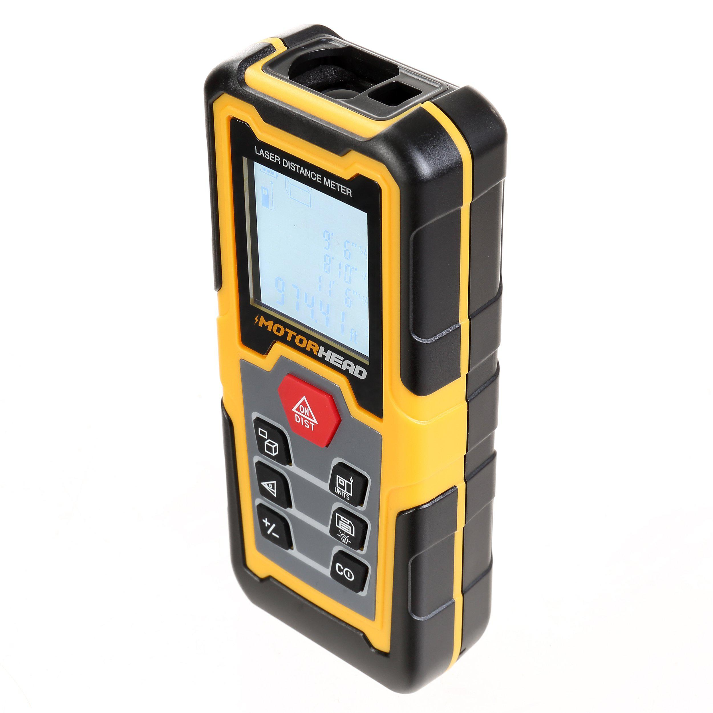196 ft. Laser Distance Measure with Bubble Levels - Measuring Tools - MOTORHEAD Tools