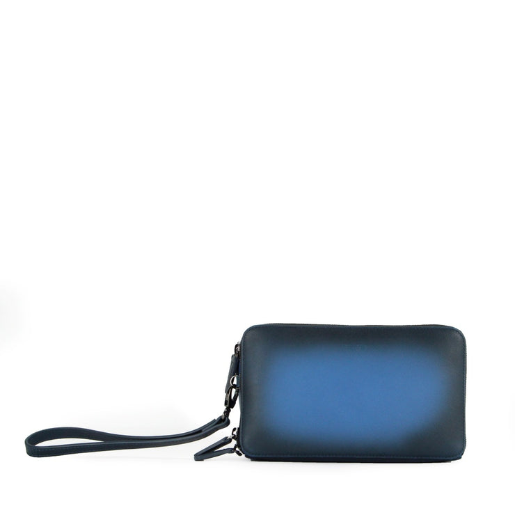 COOPER TRIPLE COMPARTMENT LEATHER CLUTCH (BLUE)