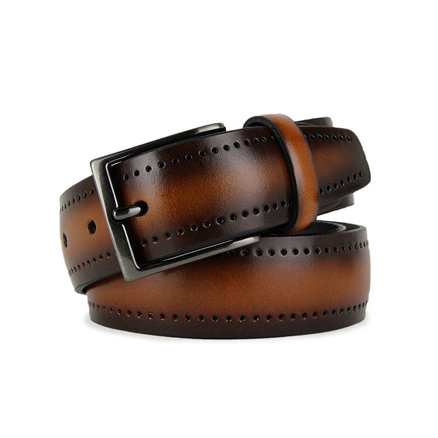 Italian Legacy Perforated Calf Leather Belt (Cognac)