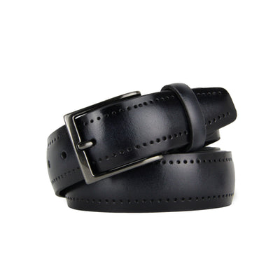 Italian Perforated Calf Leather Belt (Grey)