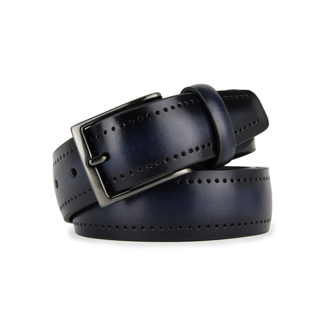 Italian Legacy Perforated Calf Leather Belt (Navy)