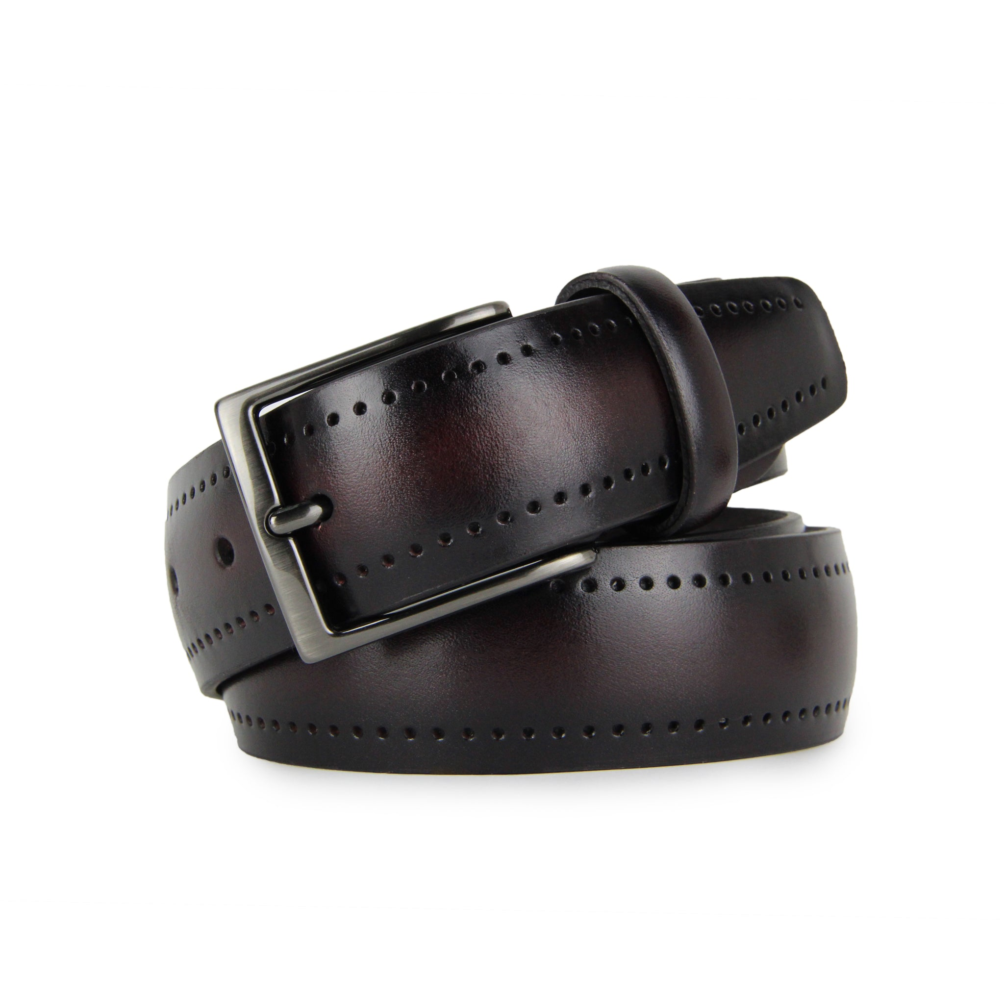 Legacy Perforated Calf Leather Belt (Wine)