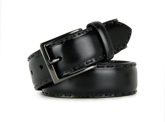 Rustic Hand Stitched Calf Leather Belt (Dark Green)