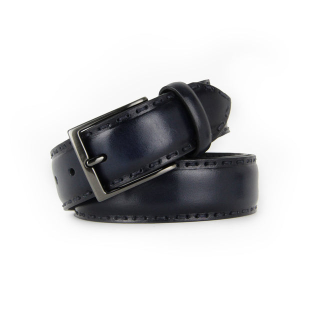 Italian Rustic Hand Stitched Calf Leather Belt (Navy)
