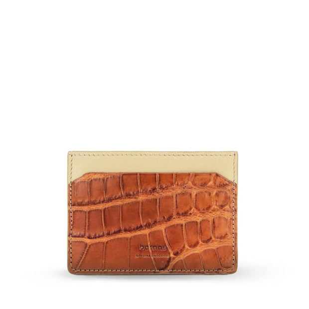 Limited Edition Tanglin Handcrafted Crocodile Slim Leather Card Holder - Cognac