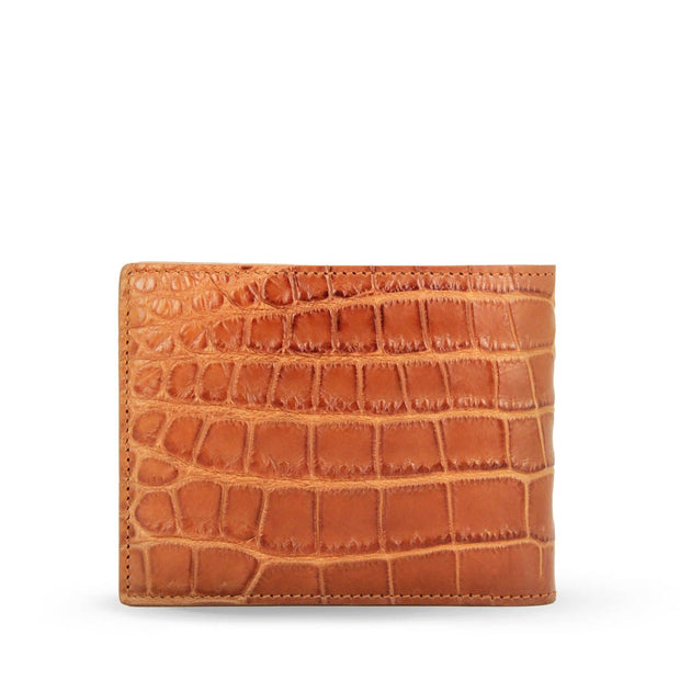 Limited Edition Tanglin Handcrafted Crocodile Leather Slim Billfold Wallet - Cognac