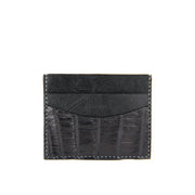 Terra Handcrafted Crocodile Leather Slim Card Holder - Black